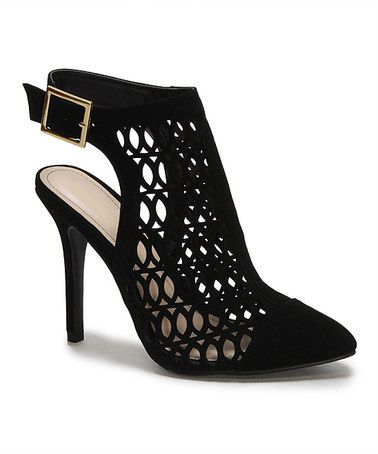 Another great find on #zulily! Black Nubuck Monet Lace Slingback Bootie #zulilyfinds