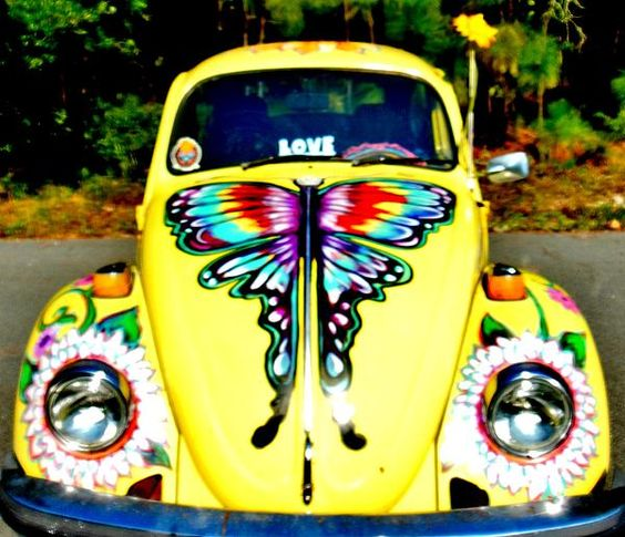 VW Bug butterfly flower headlights yellow