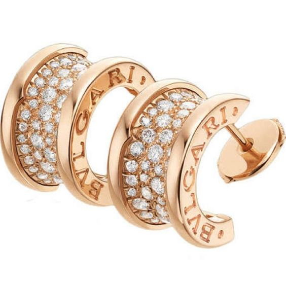 Bulgari B.Zero1 Collection Pave Diamond Gold Earrings | From a unique collection of vintage hoop earrings at https://www.1stdibs.com/jewelry/earrings/hoop-earrings/