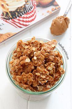 Crisp and chewy homemade Biscoff granola recipe at bakedbyrachel.com