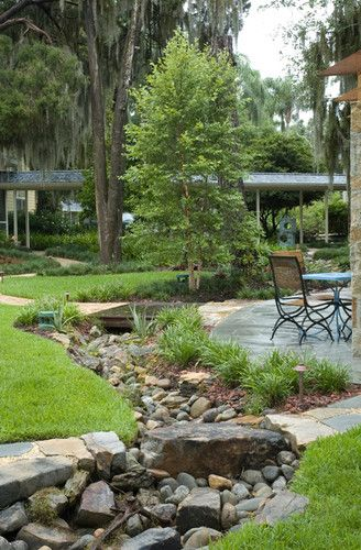 Landscape design farmhouse and dry creek on pinterest for Dry landscape design