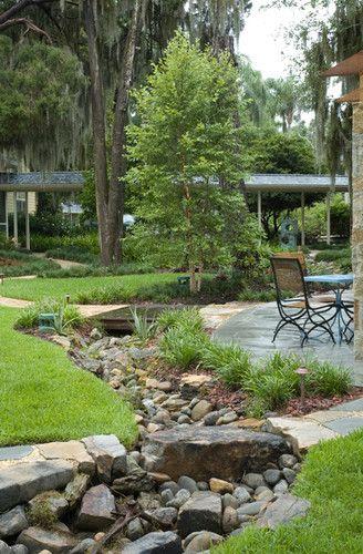 Landscape design farmhouse and dry creek on pinterest for Dry landscape design