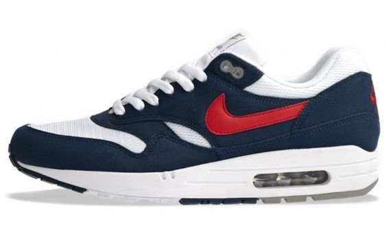 Nike Air Max 1 White/Gym Red-Thunder Blue