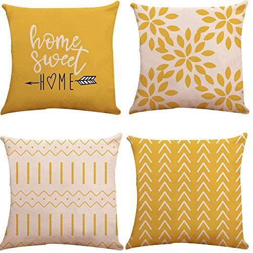 Yc Kitchen Pillow Covers 18x18 Set Of 4 Modern Sofa Throw Pillow Cover Decorative Outdoor Linen Fabric Pillow Case In 2020 Sofa Throw Pillows Throw Pillows Pillows