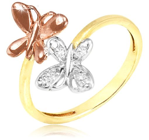 8/27/2012 Visit the Zoo Collection  $9.99  + FREE SHIPPING Diamond Accent 18K Gold Over Sterling Silver Double Butterfly Three-Toned Ring