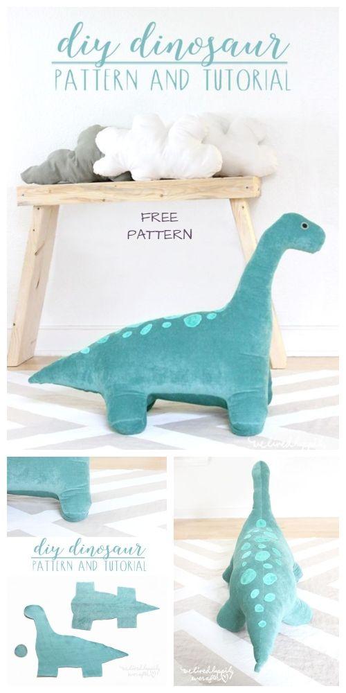 Dinosaur Sewing Pattern : dinosaur, sewing, pattern, Giant, Dinosaur, Sewing, Pattern, Tutorial, Stuffed, Animals,, Toys,, Animal, Patterns
