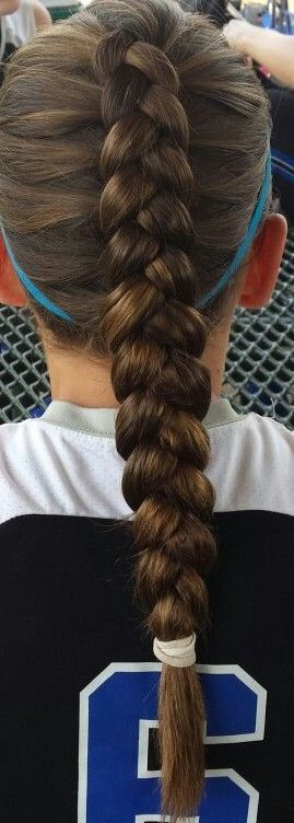 beautiful Dutch braid/ perfect for a volleyball game/ volleyball hair/ style/ brown hair