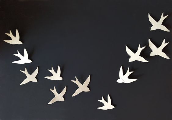 Flock  11 Porcelain ceramic wall art swallows by PrinceDesignUK