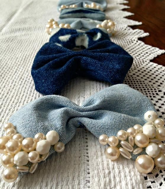 DIY Crafts: DIY Hair bows - Denim scraps