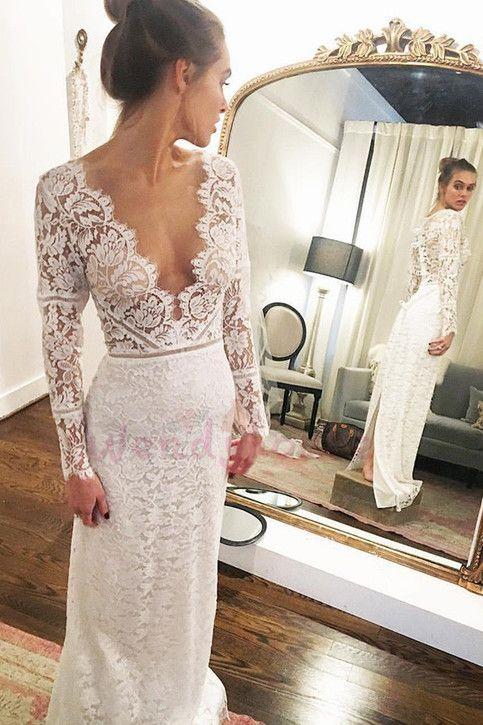 26++ Lace vneck wedding dress ideas