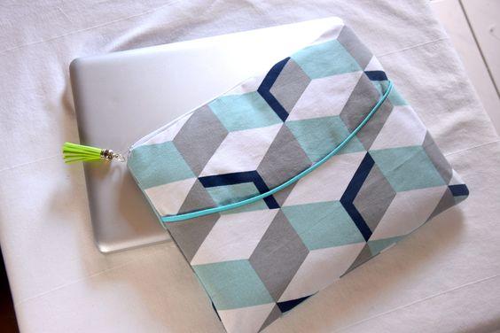 """Pochette Housse ordinateur portable 13"""" 14"""" 15"""" pouces aux motifs géométriques"""