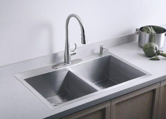 כיור נירוסטה 559 838 מ מ מונרו כפול קוהלר אמריקאי דגם K3820 Kitchen Sink Design Kitchen Faucet Double Basin Kitchen Sink