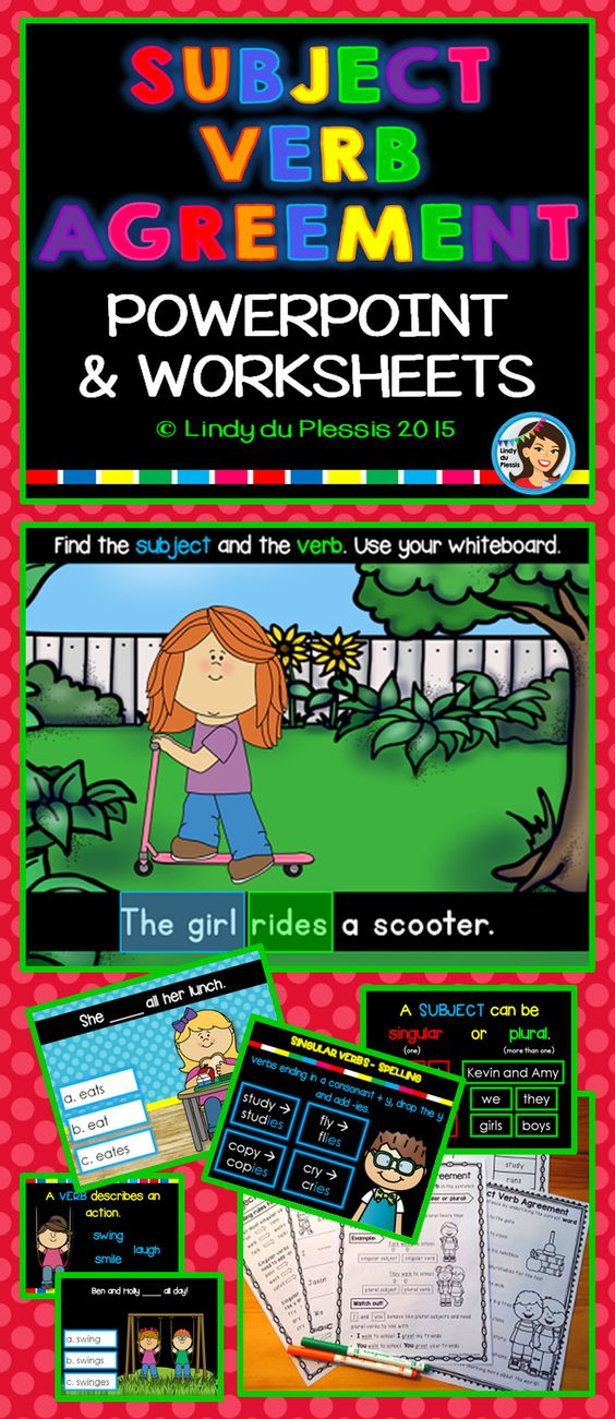 Subject Verb Agreement  Singular And Plural Nouns And Singular And Plural On Pinterest