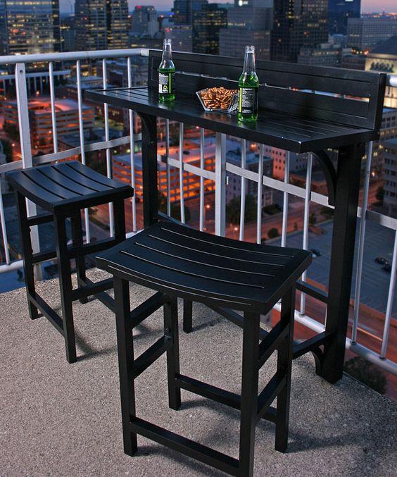 Black Outdoor Balcony Bar Set Zulily Home Life