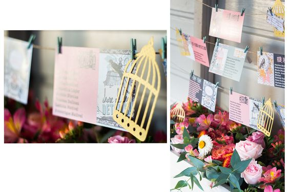carton plan de table mariage oiseaux