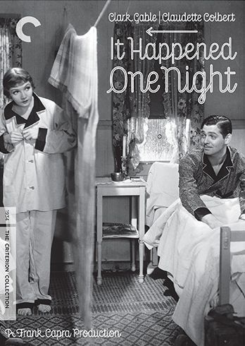 """DVD cover art for """"It Happened One Night"""", starring Clark Gable and Claudette Colbert, 1934. The Criterion Collection."""