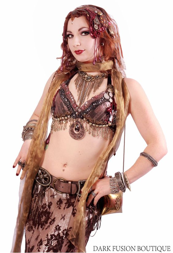 natural bellydance costuming inspiration dig the brown outfit with red hair