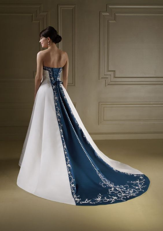 Wedding Dresses with Blue Accents | TJ Formal: Wear a two-toned wedding dress!
