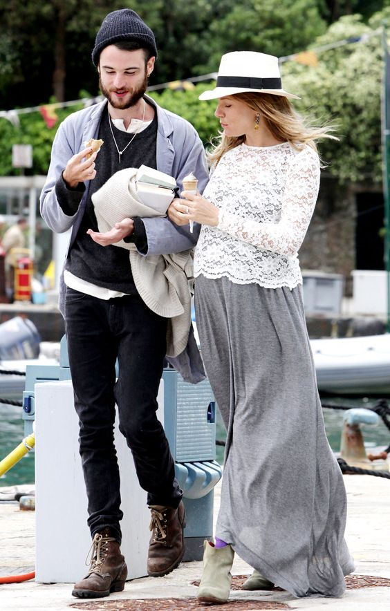 Sienna Miller's Maternity Style: I have a gray maxi dress like this, the lace cover up is sooo cute!