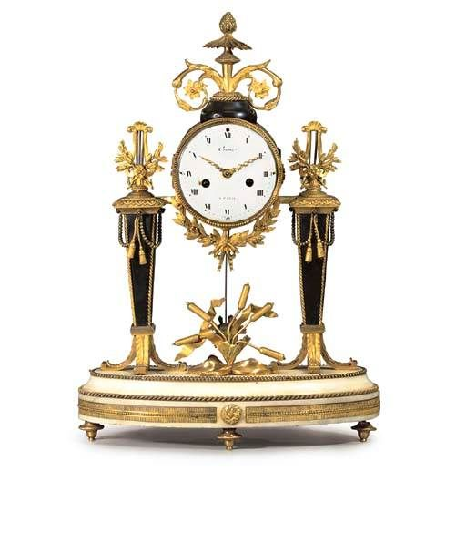 C1780 A Louis Xvi Ormolu Mounted White And Black Marble Mantle Clock Circa 1780 The Movement By Couture Paris Price Realised Gbp 5 0 Orologio Orologi Antichi