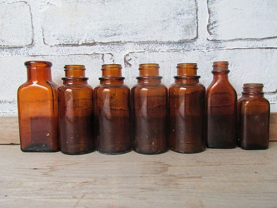 Amber Brown Bottles Vintage Apothecary Bottles Collection of 7 Small Bottles