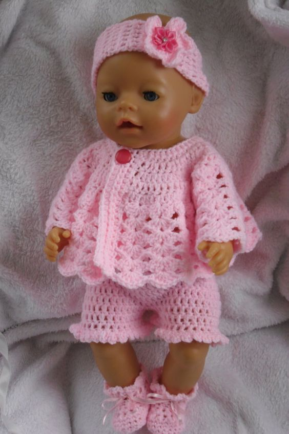 Free Crochet Pattern Doll Jacket : Crochet pattern for 17 inch baby doll The outfit, Yarns ...