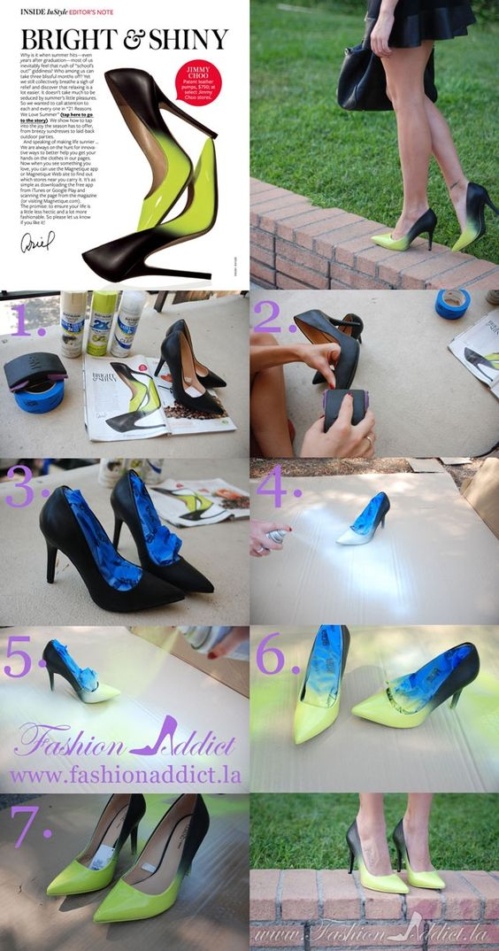 Jimmy Choo Ombre Shoes DIY ---- interesting idea...I would also tape-off heel and sole edges to retain original color.: