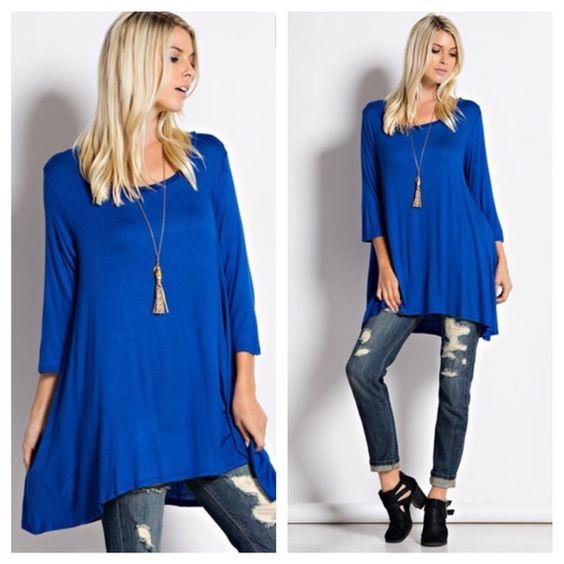 Cobalt blue tunic dress Boutique  Tunic dresses D and Cobalt blue