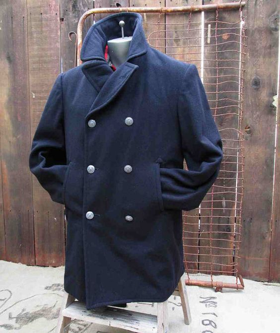 Navy Peacoat Vintage Military Pea Coat eagle buttons 60s Navy Wool