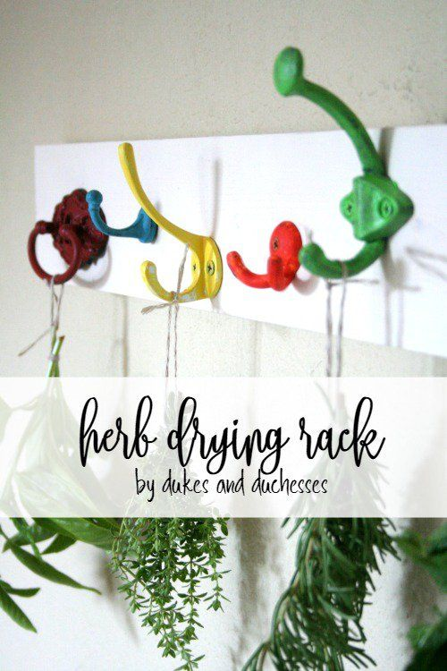 DIY herb drying rack made with upcycled drawer knobs and drawer pulls