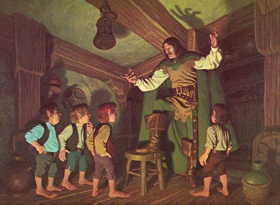 Aragorn y los hobbits, según los hermanos Hildebrandt