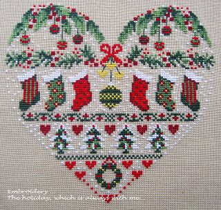 Embroidery ... The holiday, which is always with me...: Кашпо для рождественской композиции «Noel Heart» (Bleu de Chine). Love this probably will never do it! Too many other works in progress.....sigh