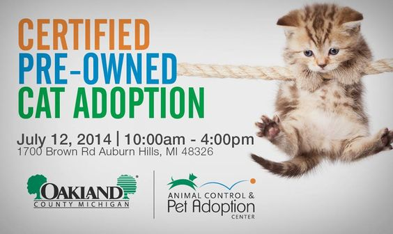 This Saturday From 10am 4pm Join The Oakland County Animal Control Pet Adoption Center Located In Auburn Hil Pet Adoption Center Pet Adoption Cat Adoption