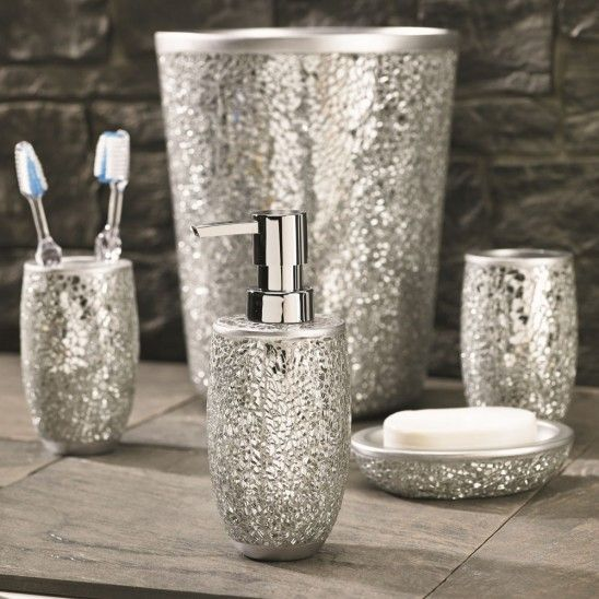 Bathroom accessories bathroom and glitter bathroom on for Bathroom accessories silver