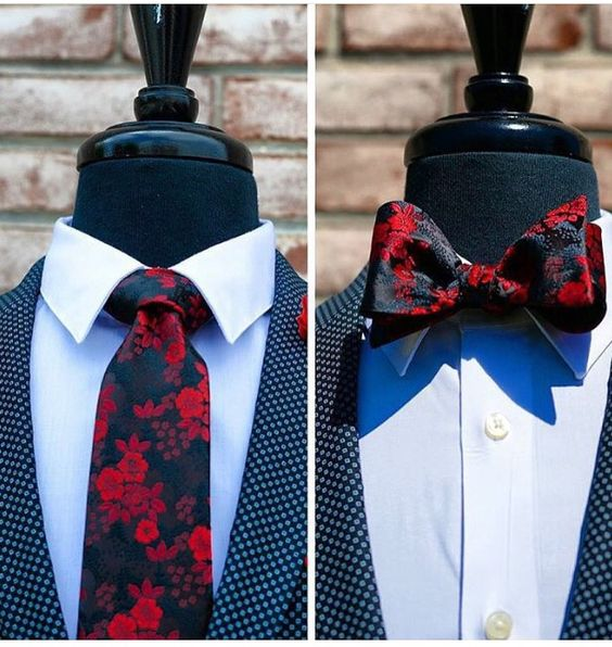 Love this style. Clean and dapper. Nice for a formal event or a wedding. The floral touch using dark colors  combines elegance, style and a manly touch to the set.
