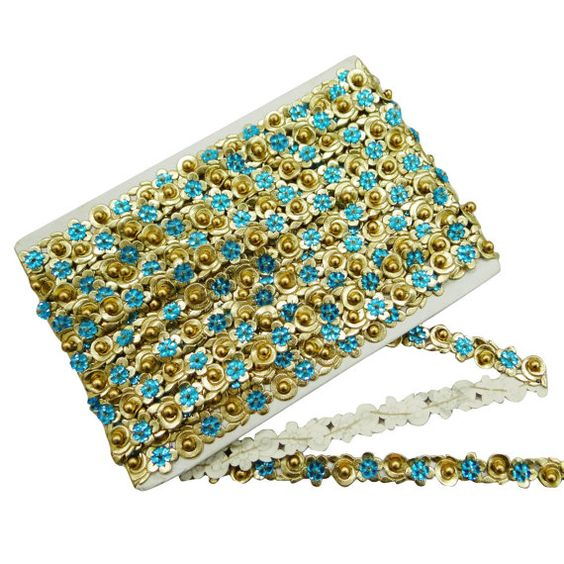 0.6''inches Sequins Ribbon Embroidered Trim by Indianbeautifulart