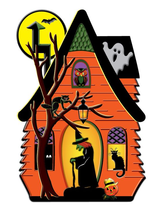 Witch House Vintage Halloween Decorations And Witches On