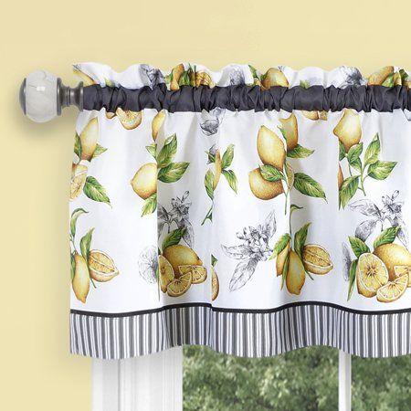 Lemon Drop Tier And Valance Window Curtain Set Yellow Walmart Com Lemon Kitchen Decor Curtains Valance