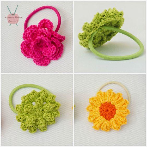 Abuela Delia Crochet: Gomitas para el Cabello con Flores | Hair-bands with Flowers: