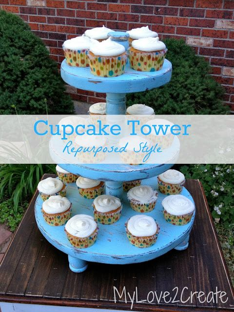 MyLove2Create, cupcake tower, repurposed style