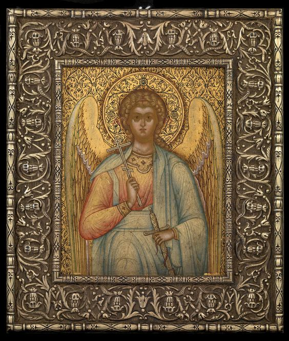 A SMALL ICON OF THE GUARDIAN ANGEL IN A SILVER-GILT OKLAD   THE CHIRIKOV BROTHERS WORKSHOP, SIGNED AND DATED 1907, OKLAD STAMPED WITH MARK OF ALEXANDER LUBAVIN UNDER IMPERIAL WARRANT, ST PETERSBURG, 84 STANDARD,: