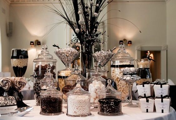 Love Is Sweet And So Are Wedding Candy Buffets! Black & White Theme.: