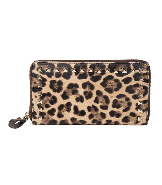 Valentino Leopard Rock Studded Wallet