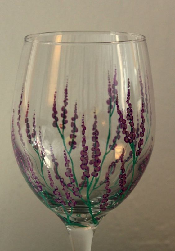 Lavender fields wine glas by threesisterswine on etsy 20 for Wine glass painting tutorial