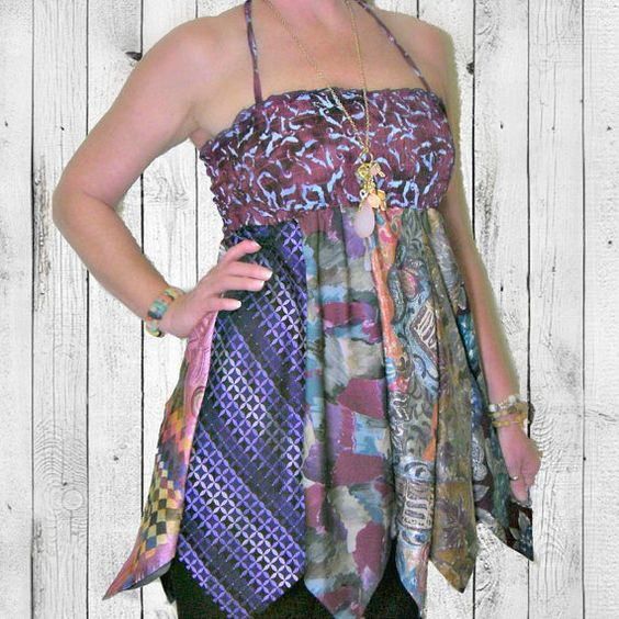 Upcycled Indie Necktie Dress Eco Bohemian by PandorasPassions, $60.00