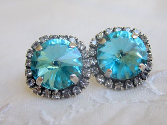 Turquoise Swarovski stud earrings Antique by EldorTinaJewelry, $38.00
