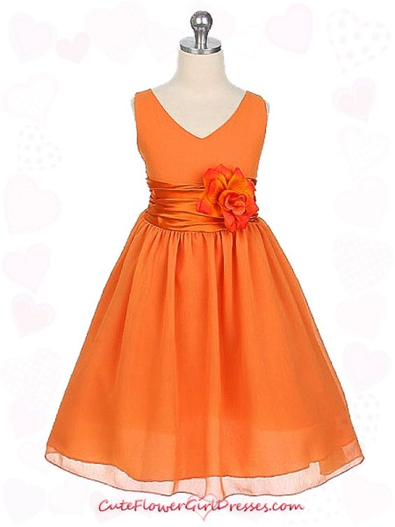 I think this is cute for Aryssa and Nani  Orange Yoru Chiffon Flower Girl Dress for a clemson wedding @Crystal Hamrick