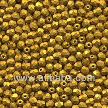 4mm GOLD matte frosted Czech Fire polished faceted Glass Beads round Box - 1.200 Pcs
