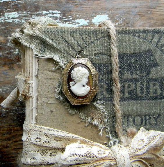 Vintage Cameo Locket Gold Tone Locket Plastic by CarolinaVintageCo