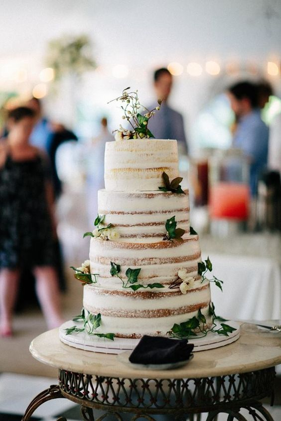 Naked Wedding Cake. // Beautiful English Garden Michigan wedding at Southern Exposure herb Farm.   Photos by Maiko Media.   http://www.maikomedia.com/latest/